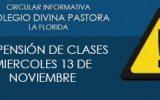 CLASES SUSPENDIDAS MIERCOLES 13 DE NOVIEMBRE