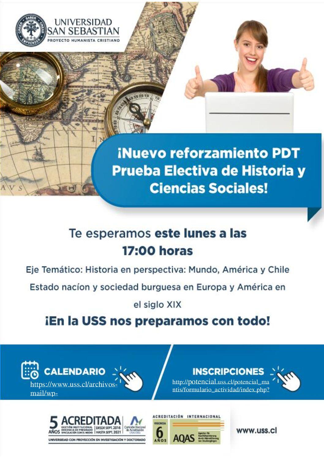 Reforzamiento PDT Historia y Ciencias Sociales - USS.