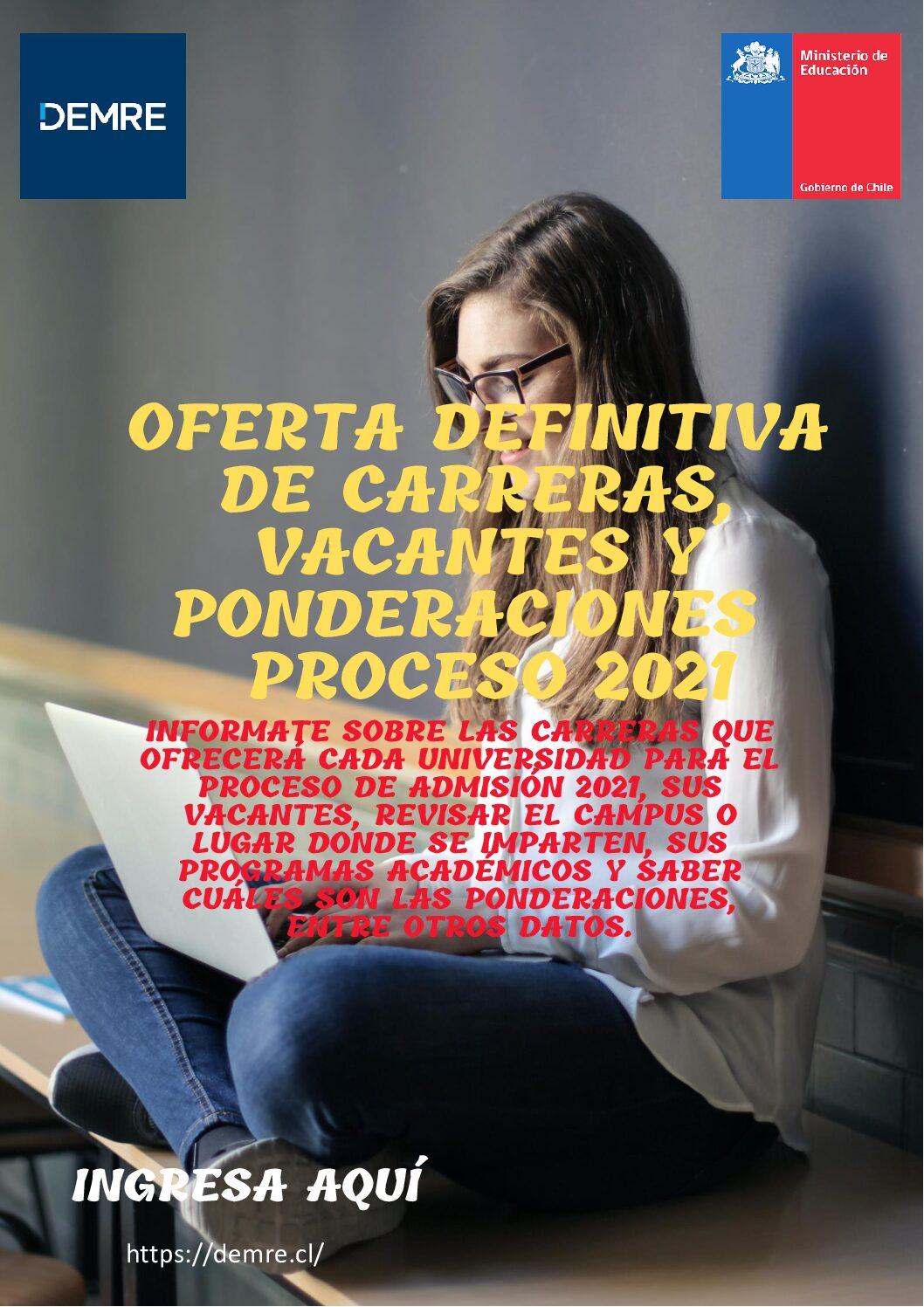 """DEMRE - MINEDUC """"Oferta definitiva de Carreras, vacantes y ponderaciones proceso 2021"""""""