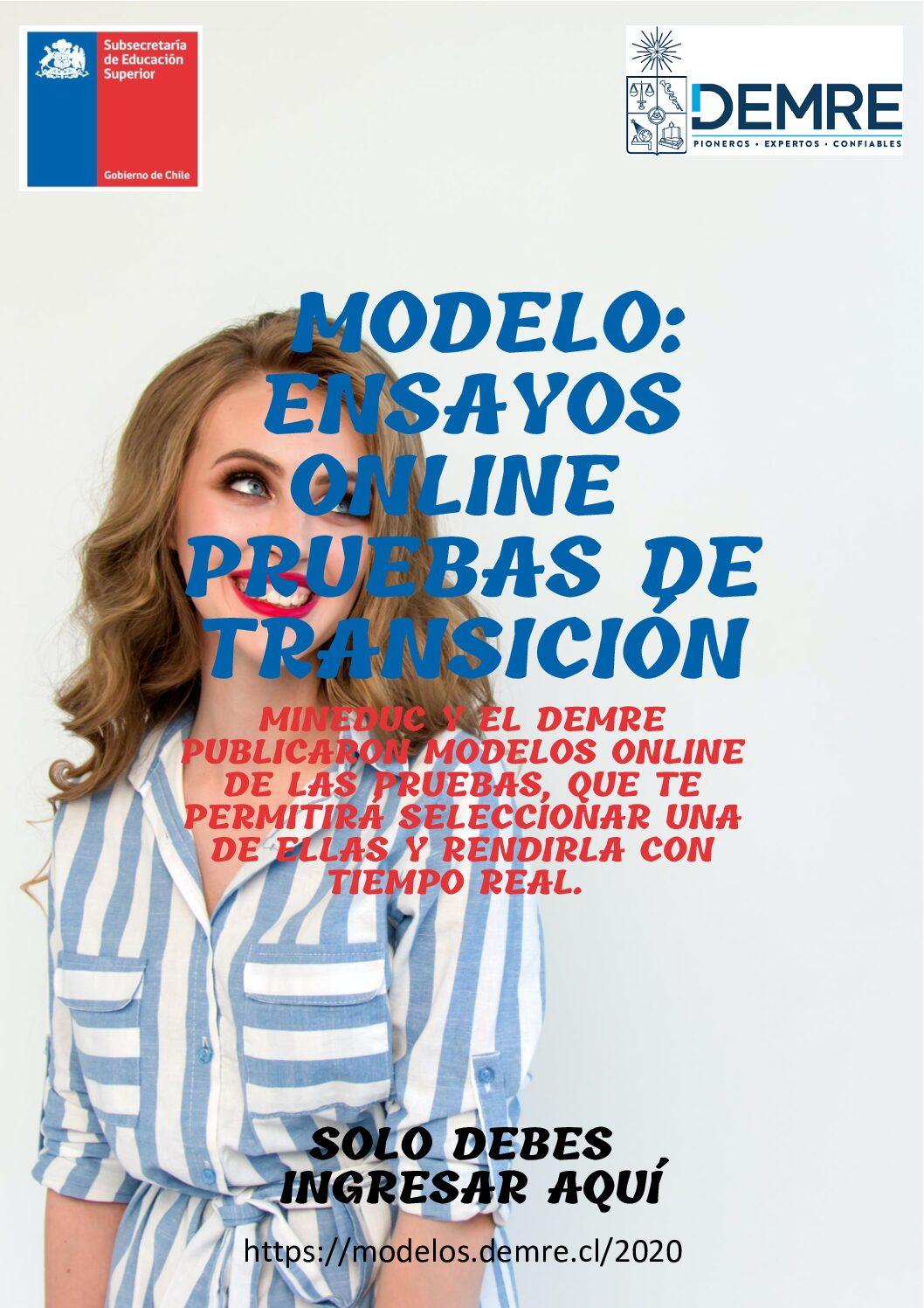 Demre - Mineduc - Modelo Ensayos Online Pruebas de Transición